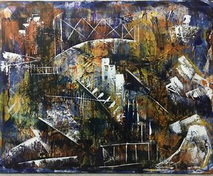 The Lost World by sapna anand, Abstract Painting, Acrylic on Canvas, Gray color