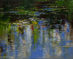 reflections by Sachin Upadhye, Expressionism Painting, Oil on Canvas, Green color