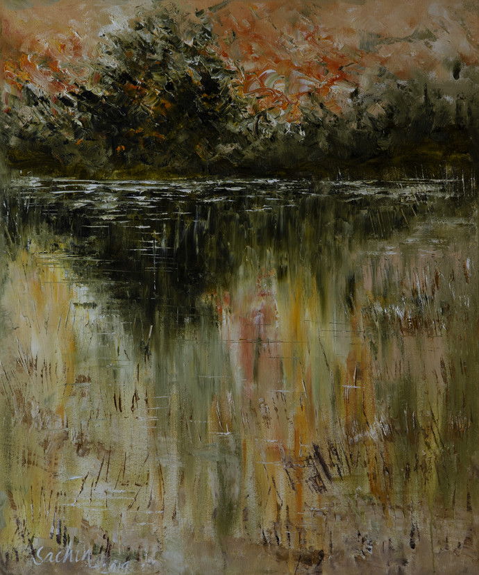 silent waters by Sachin Upadhye, Expressionism Painting, Oil on Canvas, Brown color