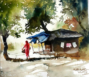Gujarat Days 1 by Mopasang Valath, Impressionism Painting, Watercolor on Paper, Beige color