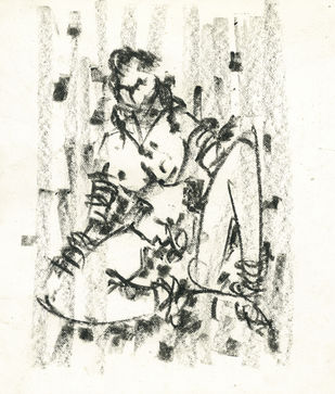 Gipsy by Ram Divakar, Illustration Drawing, Oil Pastel on Paper, Beige color