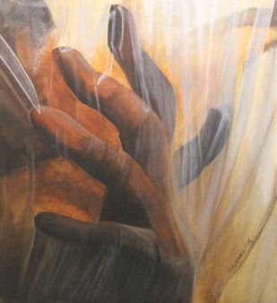 Need space by Indranil, Conceptual Painting, Mixed Media on Canvas, Brown color