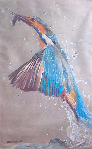 refreshment by Indranil, Expressionism Painting, Dry Pastel on Paper, Brown color