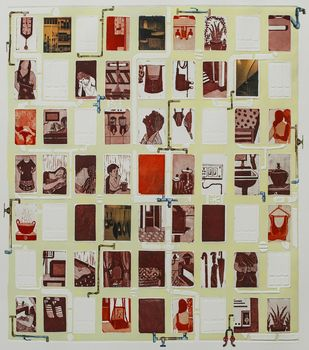 Windows by Ratna Bardhan, Expressionism Printmaking, Etching and Aquatint, Beige color
