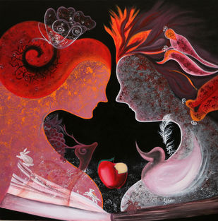 Story of Adam & Eve 3 by Shivani Mathur, Expressionism Painting, Acrylic on Canvas, Brown color