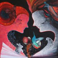 Story of adam   eve 4   acrylic on canvas   24 x 24 inch