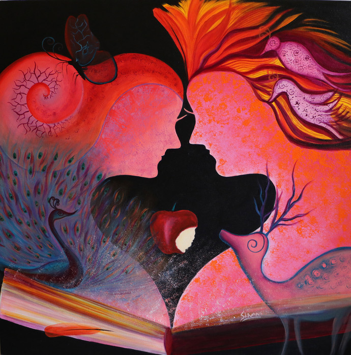 Story of Adam & Eve 5 by Shivani Mathur, Expressionism Painting, Acrylic on Canvas, Brown color