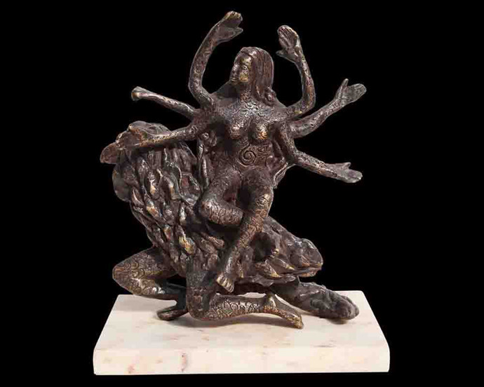 "Hindu Goddess Vaishnavi, Mythology, Bronze Sculpture, Brown color ""In Stock"" by Seema Kohli, Art Deco Sculpture | 3D, Bronze, Black color"