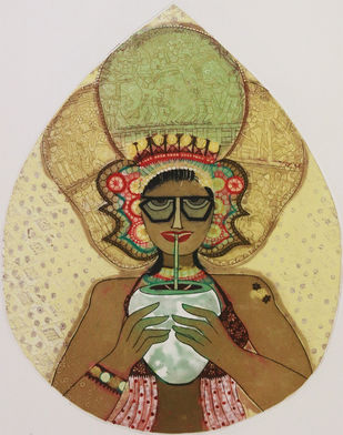 Untitled by Sonal Varshneya, Pop Art Printmaking, Etching on Paper, Beige color