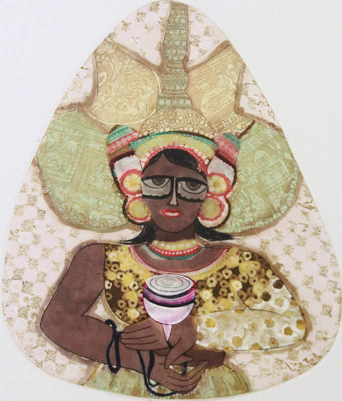 Untitled by Sonal Varshneya, Expressionism Printmaking, Etching on Paper, Beige color