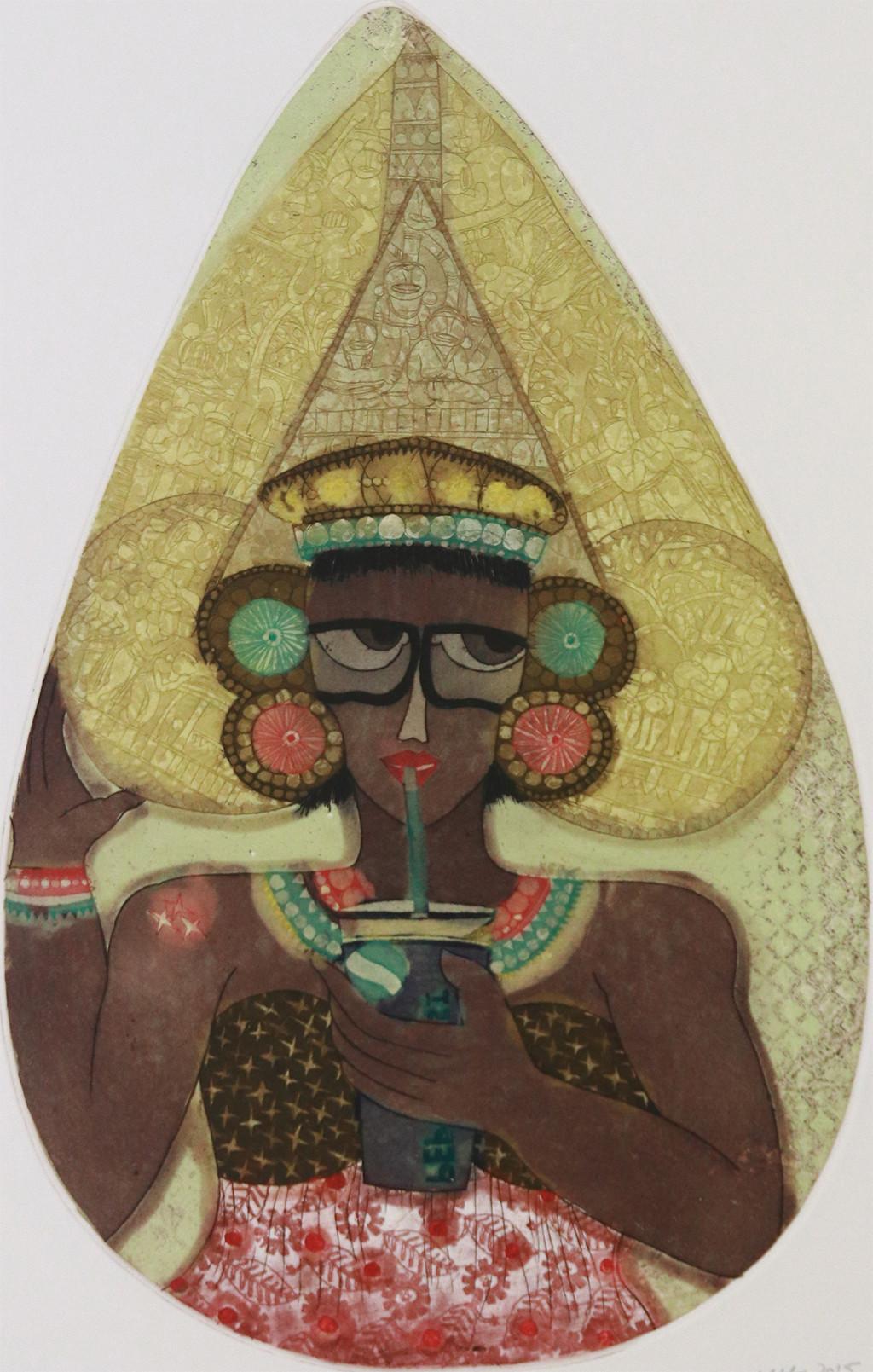 Untitled by Sonal Varshneya, Pop Art Printmaking, Etching on Paper, Brown color