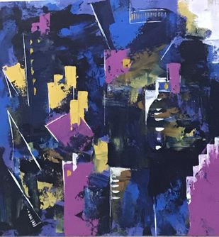 The city III by sapna anand, Abstract Painting, Acrylic on Board, Blue color