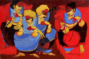 Folk Artist by Sarang Waghmare, Expressionism Painting, Acrylic on Canvas, Brown color