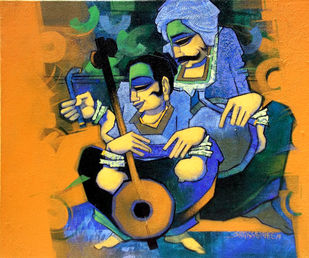 Melody Makers 2 by Sarang Waghmare, Expressionism Painting, Acrylic on Canvas, Brown color