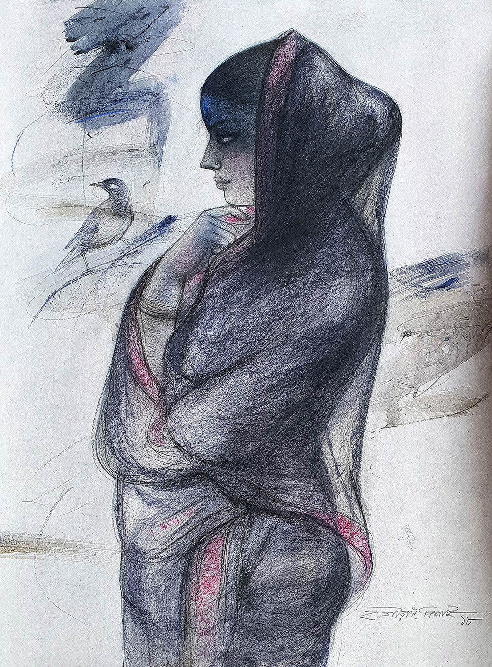 "Indian Bengali Women , Charcoal, Pastel on Paper, Blue, Black, Red ""In Stock"" by Gouranga Beshai, Expressionism Painting, Mixed Media on Paper, Gray color"