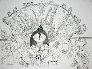 Untitled 2 by Asit Mondal, Illustration Drawing, Ink on Paper, Gray color