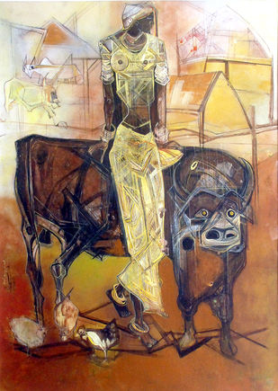 Village Woman by Asit Mondal, Expressionism Painting, Tempera on Board, Brown color