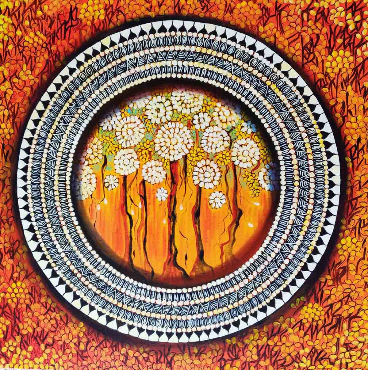 MANDALA - A SOUL CONNECTION SERIES 6 by NITU CHHAJER, Decorative Painting, Acrylic on Canvas, Brown color