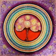 MANDALA - A SOUL CONNECTION SERIES 4 by NITU CHHAJER, Decorative Painting, Acrylic on Canvas, Brown color