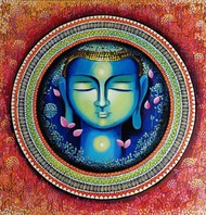 BUDDHA - THE RISE OF SOUL CONSCIOUSNESS SERIES 3 by NITU CHHAJER, Decorative Painting, Acrylic on Canvas, Brown color