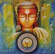 EMERGING BUDDHA SERIES 5 by NITU CHHAJER, Decorative Painting, Acrylic on Canvas, Green color