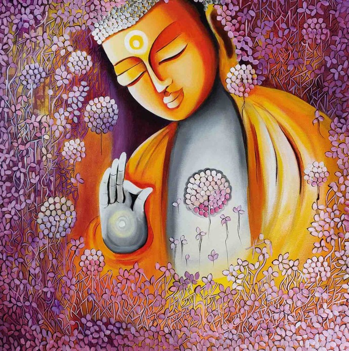 EMERGING BUDDHA SERIES 6 by NITU CHHAJER, Decorative Painting, Acrylic on Canvas, Brown color