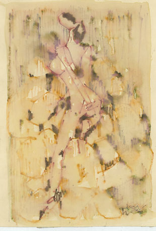 Untitled by Ram Divakar, Illustration Painting, Watercolor & Ink on Paper, Beige color