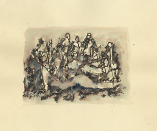 Group of Ladies by Ram Divakar, Illustration Painting, Watercolor & Ink on Paper, Yellow color