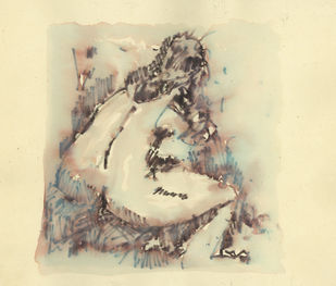 Bathe by Ram Divakar, Illustration Painting, Watercolor & Ink on Paper, Yellow color