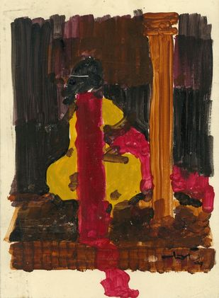 Untitled by Ram Divakar, Expressionism Painting, Acrylic on Paper, Brown color