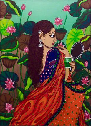 Shringaar 2 by Tallita, Decorative Painting, Acrylic on Canvas, Brown color