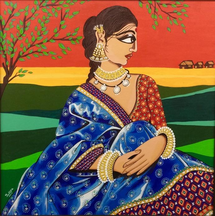 Sandhya Digital Print by Tallita,Expressionism