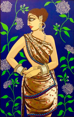 Gulshan by Tallita, Expressionism Painting, Acrylic on Canvas, Blue color