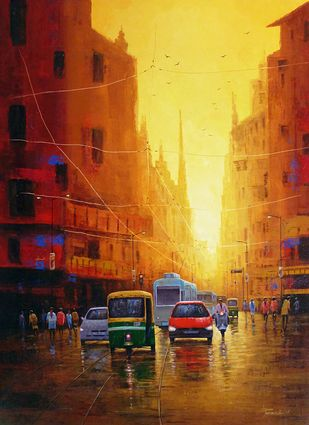 Untitled by Purnendu Mandal, Impressionism Painting, Acrylic on Canvas, Brown color