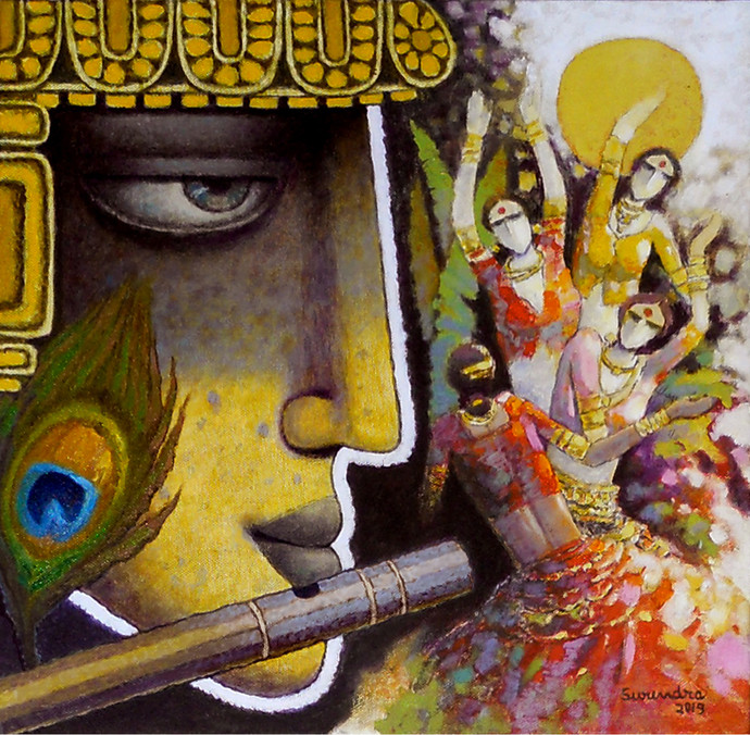 Krishna by Surendra Pal Singh, Expressionism Painting, Oil & Acrylic on Canvas, Brown color