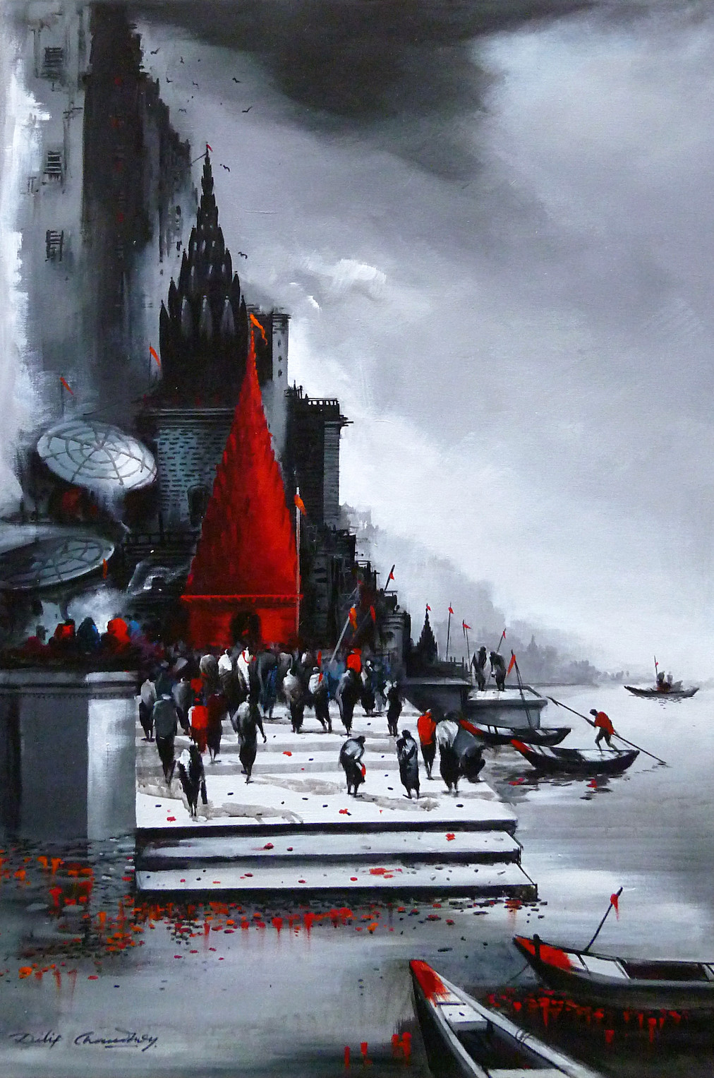 Banaras by Dilip Chaudhury, Impressionism Painting, Acrylic on Canvas, Gray color
