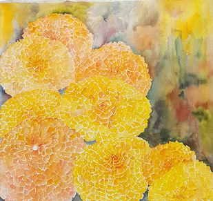 Marigold 4 by Manju Srivatsa , Impressionism Painting, Watercolor on Paper, Beige color