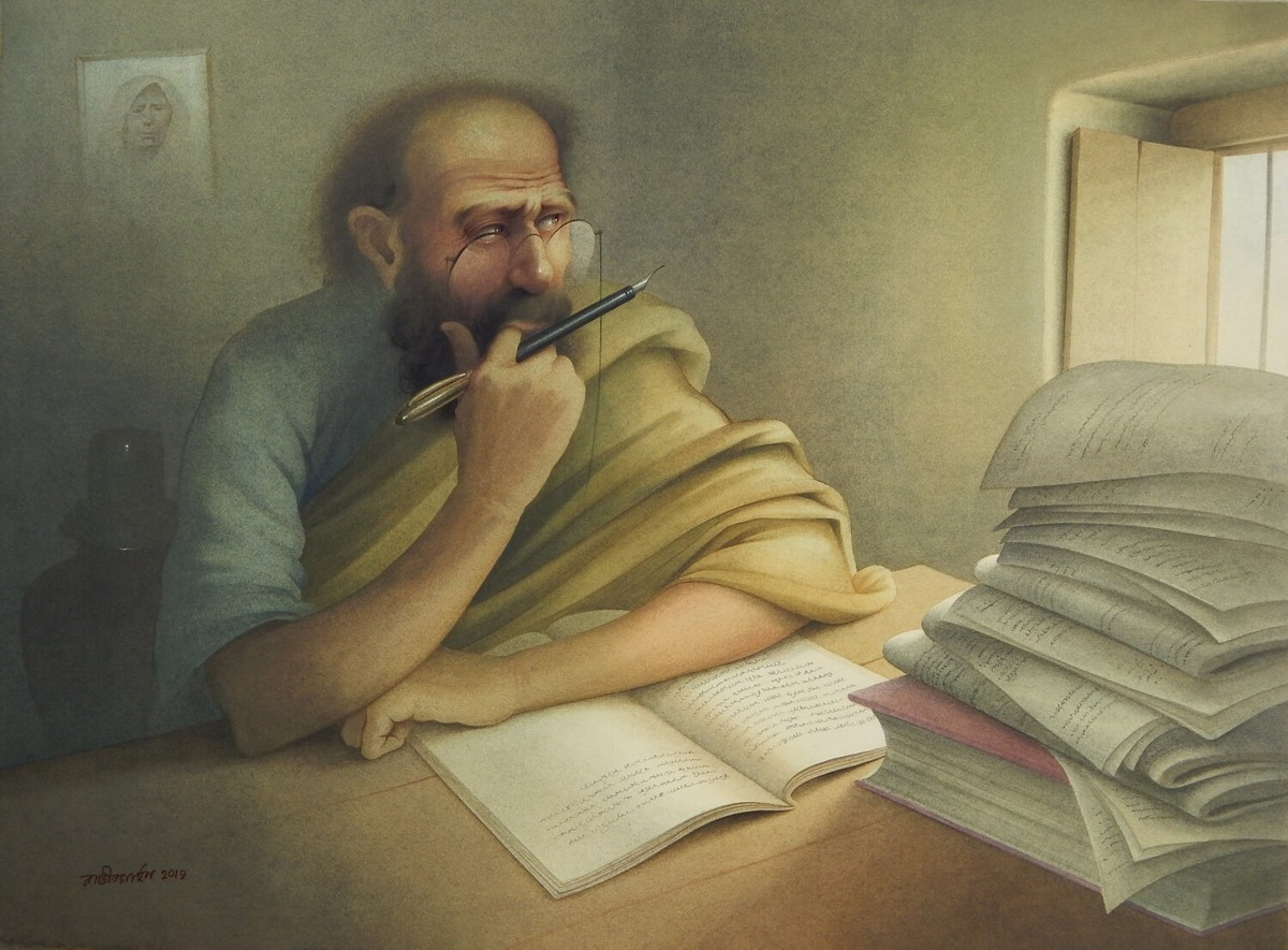WRITER by Rajib Gain, Expressionism Painting, Watercolor Wash on Paper, Beige color