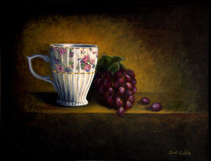 FRUIT'N'CUP by SWATI GHOSH, Impressionism Painting, Acrylic on Canvas, Brown color