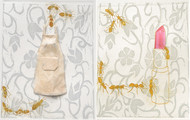 Sequence by Ratna Bardhan, Expressionism Printmaking, Etching on Paper, Beige color