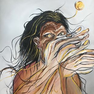 BrainFog by Srishti Bansal, Expressionism Painting, Acrylic on Canvas, Gray color