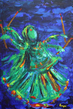 Fight Within by Kavya vyas , Expressionism Painting, Acrylic on Canvas, Blue color