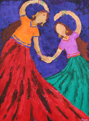 Rhythmic Bonding by Kavya vyas , Expressionism Painting, Acrylic on Canvas, Red color