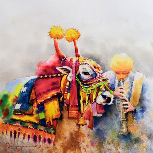 Gangireddu with Master (3) by Jeyaprakash M, Expressionism Painting, Watercolor on Paper, Gray color