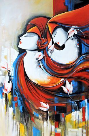 loving couple by pradeesh k raman, Decorative Painting, Acrylic on Canvas, Brown color