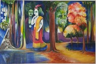 untitled by A B PANDEY, Expressionism Painting, Acrylic on Canvas, Brown color
