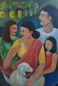 Family Digital Print by A B PANDEY,Expressionism