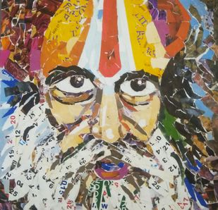 Face by A B PANDEY, Expressionism Painting, Mixed Media, Brown color