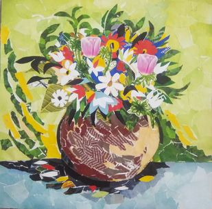 Flower vase by A B PANDEY, Expressionism Painting, Mixed Media, Beige color