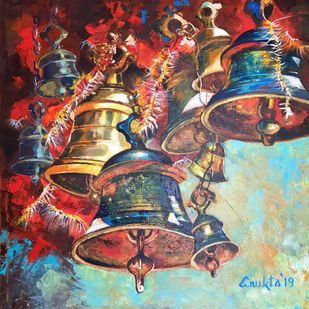 SOUNDS OF DIVINITY - IV by Anukta Mukherjee Ghosh, Expressionism Painting, Acrylic on Canvas, Brown color